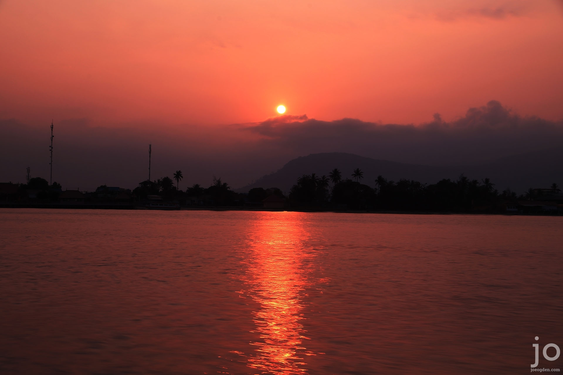 Sunset over Kampot river, Cambodia