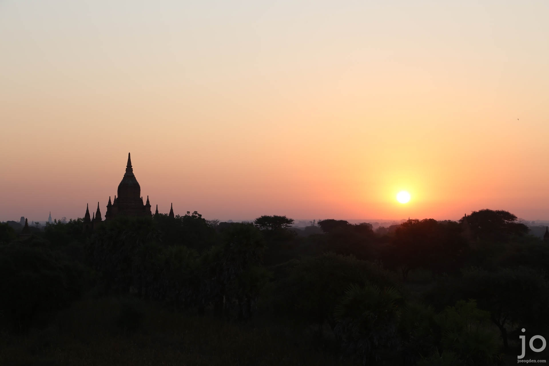 Sunrise over the temples in Bagan, Myanmar