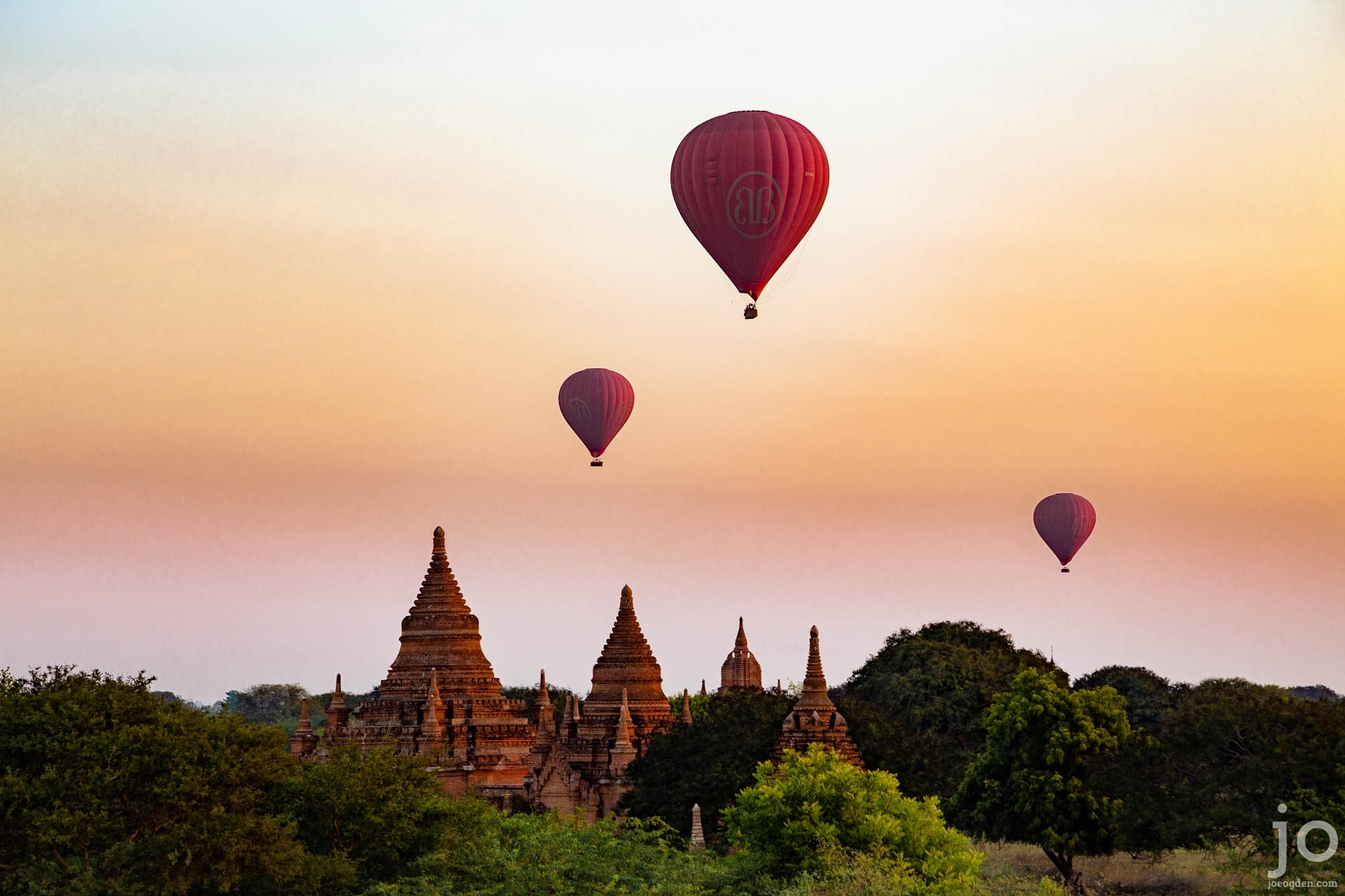 Hot air balloons at sunrise, Bagan, Myanmar