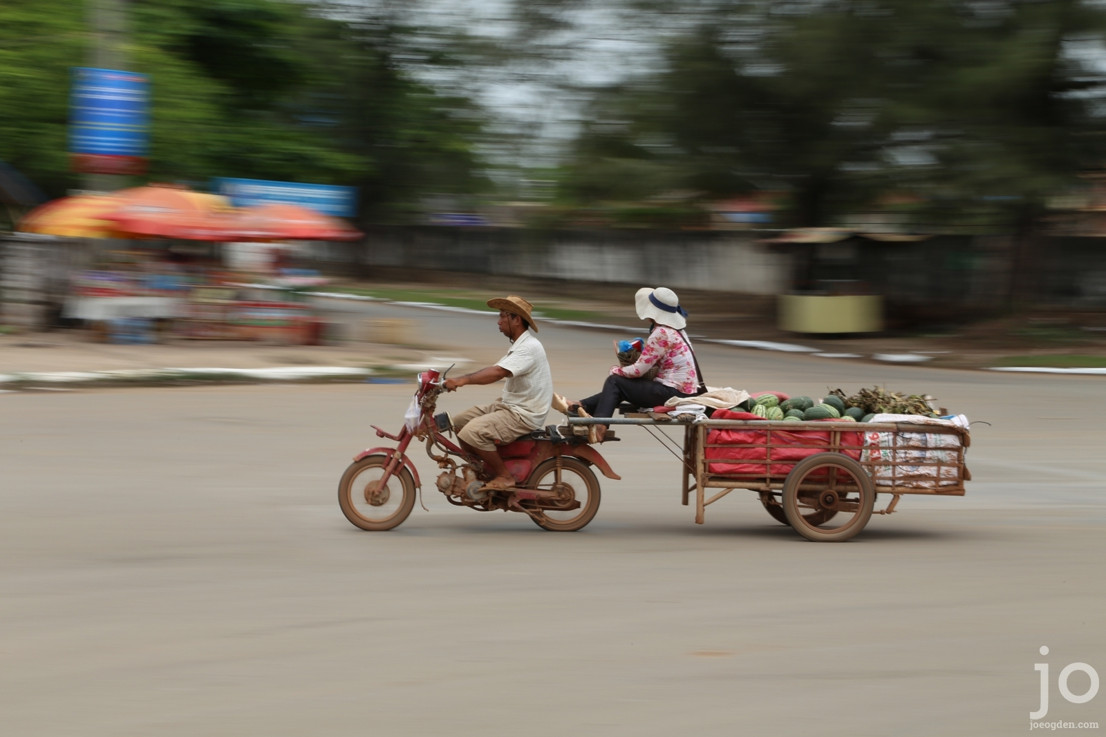 Motorbike with trailer in Kampot, Cambodia