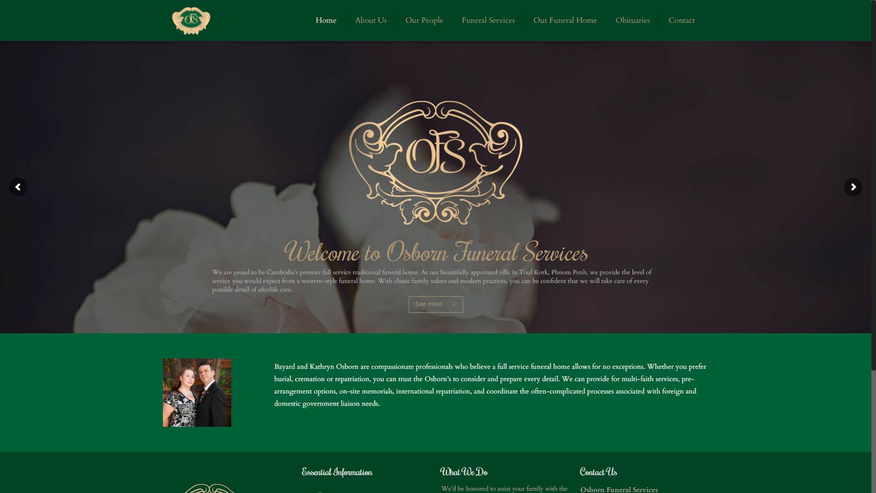Osborn Funeral Services Website Design | Joe Ogden | Cambodia